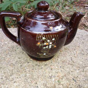 VTG LIttle Brown Teapot With Flowers Made in Japan
